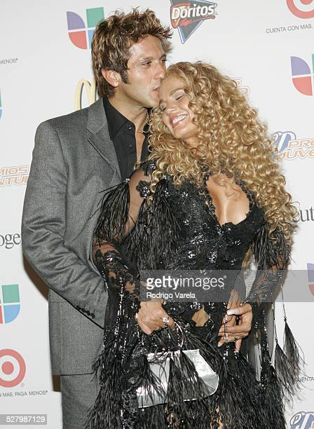 Bobby Larios and Niurka Marcos during Premios Juventud Awards Press Room at James L Knight Center in Miami Florida United States