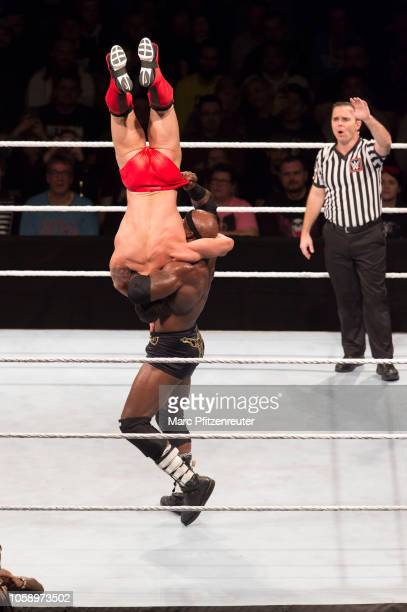 Bobby Lashley competes in the ring against Finn Balor during the WWE Live Show at Lanxess Arena on November 7 2018 in Cologne Germany