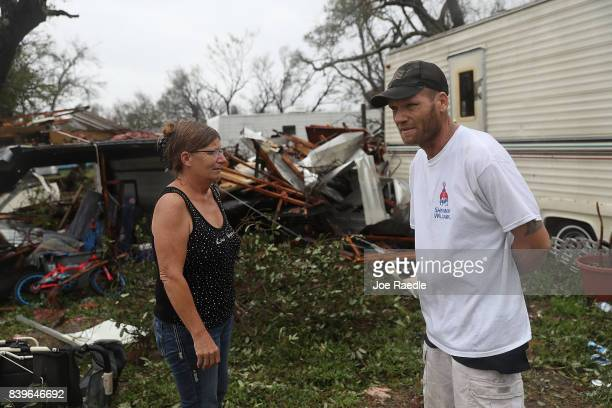 Bobby Lockaby stands near what is left of the trailer where he spent most of the night when Hurricane Harvey hit on August 26 2017 in Rockport Texas...