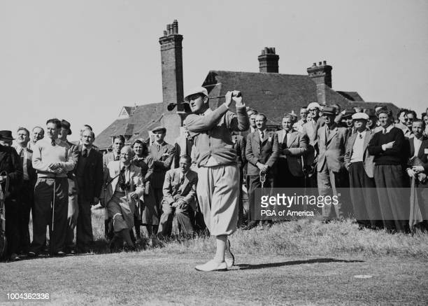 Bobby Locke at the Open Golf Championship at Royal St George's Golf Course on the 14th tee in 1949.