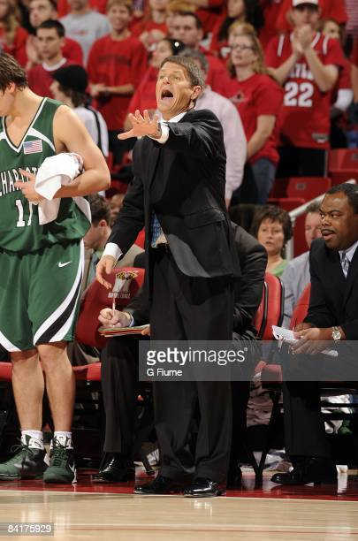 Bobby Lutz of the Charlotte 49ers motions towards his players during the game against the Maryland Terrapins at the Comcast Center on January 3 2009...