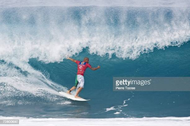 Bobby Martinez of the US posts a strong victory over Jake Paterson Yuri Sodre and Randall Paulson respectively in round two of the Rip Curl Pro...