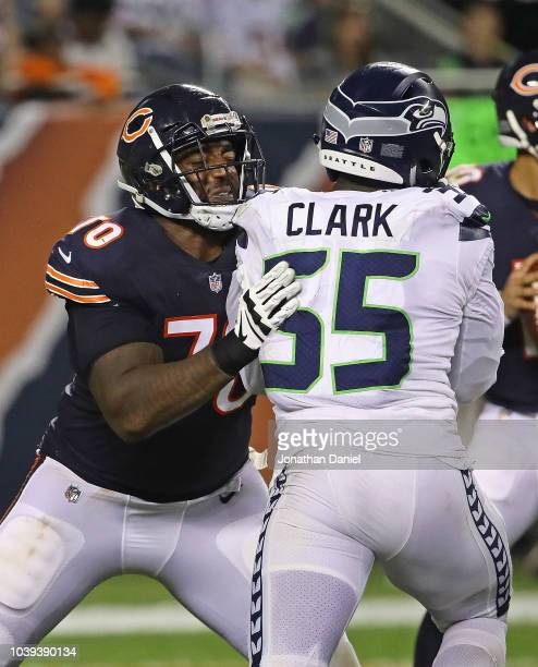 Bobby Massie of the Chicago Bears blocks Frank Clark of the Seattle Seahawks at Soldier Field on September 17 2018 in Chicago Illinois The Bears...