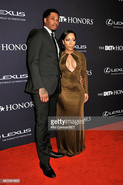 Bobby Maze and singer KMichelle attend The BET Honors 2015 at Warner Theatre on January 24 2015 in Washington DC