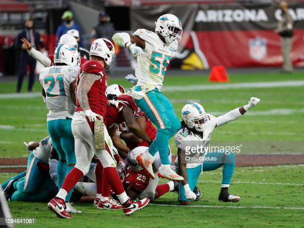 Bobby McCain and Jerome Baker of the Miami Dolphins celebrate after a fourth-down stop during the second half against the Arizona Cardinals at State...