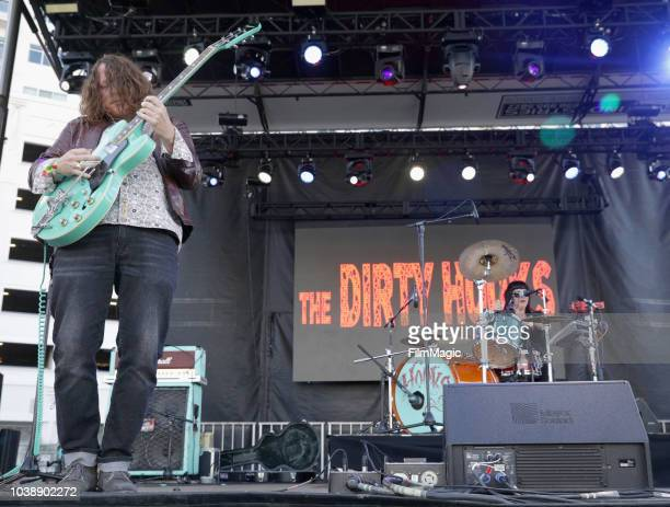Bobby McCall and Jenine Cali of The Dirty Hooks perform on Huntridge Stage during the 2018 Life Is Beautiful Festival on September 23 2018 in Las...