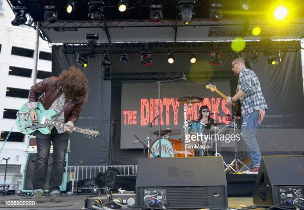 Bobby McCall Jenine Cali and Anthony Ratto of The Dirty Hooks perform on Huntridge Stage during the 2018 Life Is Beautiful Festival on September 23...