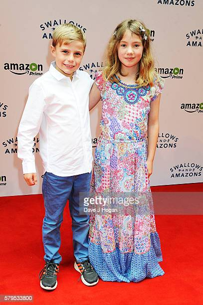 Bobby Mcculloch and Teddie MallesonAllen arrive for the World Premiere of 'Swallows and Amazons' at Theatre by the Lake on July 24 2016 in Keswick...
