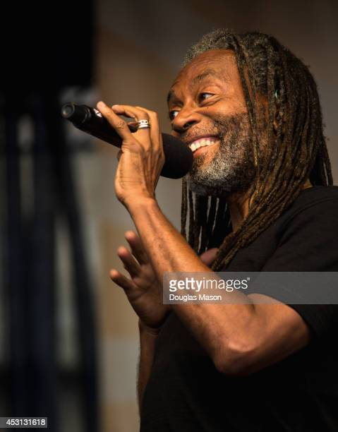 Bobby McFerrin performs during the 2014 Newport Jazz Festival at Fort Adams State Park on August 3 2014 in Newport Rhode Island