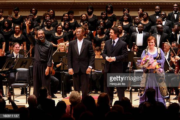 Bobby McFerrin with Orchestra of St Luke's at Carnegie Hall on Sunday afternoon April 6 2008This imageCurtain call from left Bobby McFerrin Eric...