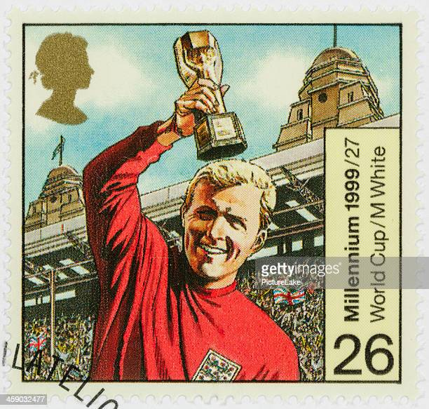 uk bobby moore world cup postage stamp - famous footballers silhouette stock pictures, royalty-free photos & images