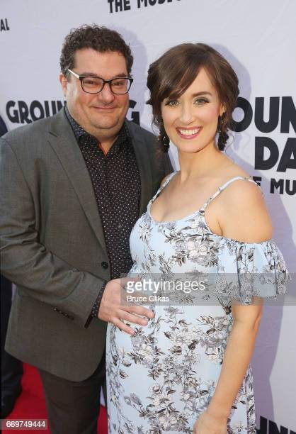 Bobby Moynihan and wife Brynn O'Malley pose at the opening night of the new musical based on the film Groundhog Day on Broadway at The August Wilson...