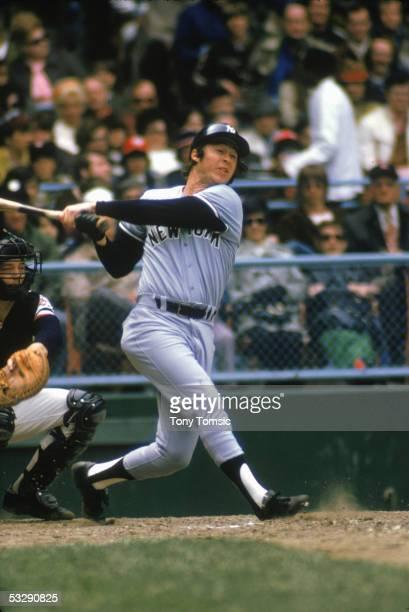Bobby Murcer of the New York Yankees bats during a 1973 season MLB game