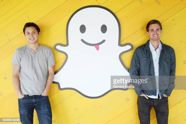 Bobby Murphy and Evan Spiegel cocreators of Snapchat are photographed at the company's offices in Venice for Los Angeles Times on May 6 2013 in...