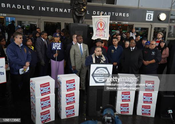 Bobby Orozco president of hhe American Federation of Government Employees the union that represents TSA officers speaks at a press conference in...