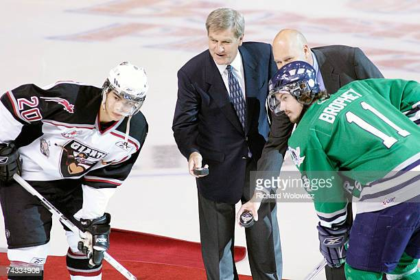 Bobby Orr drops the puck for the opening faceoff between the Vancouver Giants and ther Plymouth Whalers the Semifinal game of the 2007 Mastercard...