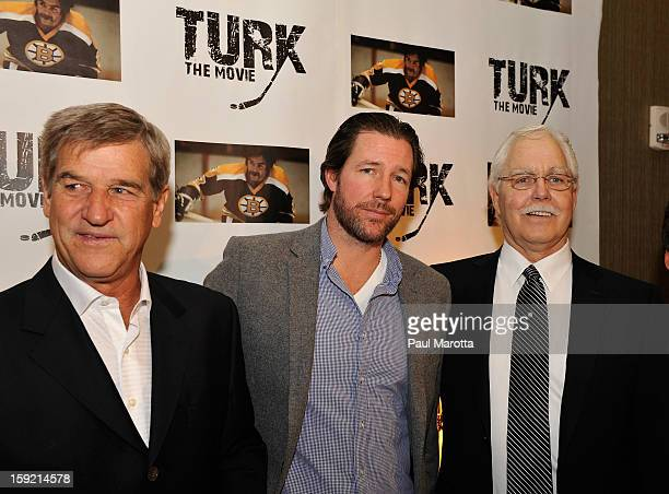 Bobby Orr Edward Burns and Derek Sanderson attend the Turk Movie Launch Event at W Boston on January 9 2013 in Boston Massachusetts