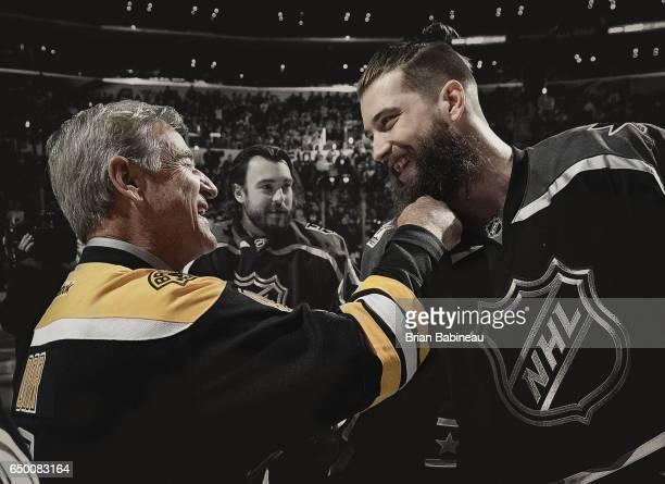 Bobby Orr grabs the beard of Brent Burns of the San Jose Sharks during the 2017 Honda NHL AllStar Game at the Staples Center in Los Angeles...