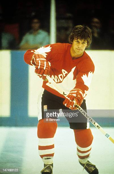 Bobby Orr of Canada skates on the ice during a 1976 Canada Cup game in September 1976 at the Montreal Forum in Montreal Quebec Canada