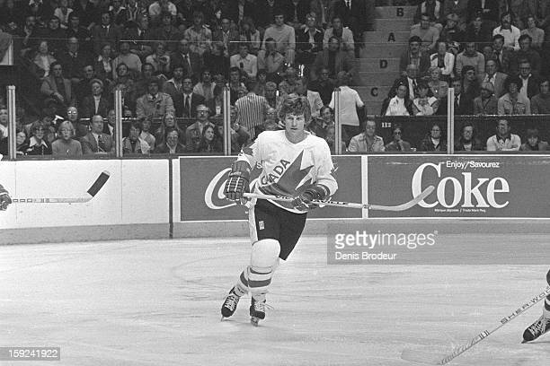 Bobby Orr of team Canada skates against team USA during a Canada Cup game at the Montreal Forum on September 5 1976 in Montreal Canada