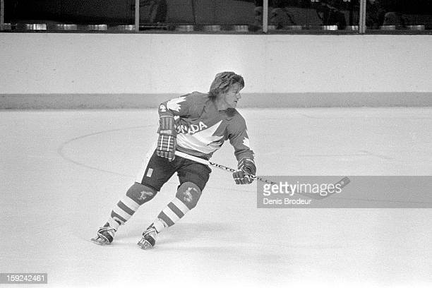 Bobby Orr of team Canada skates on the ice during practice for the Canada Cup series at the Montreal Forum circa September 1976 in Montreal Canada