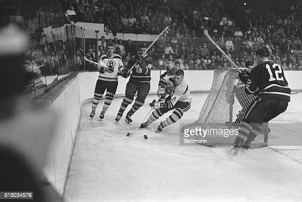Bobby Orr of the Boston Bruins is shown in action playing against the Toronto Maple Leafs