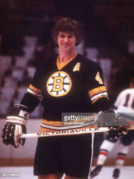 Bobby Orr of the Boston Bruins smiles on the ice during warmups prior to an NHL game against the New York Islanders on March 15 1975 at the Nassau...