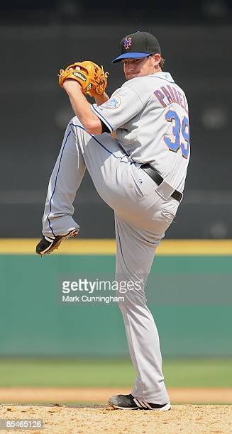 Bobby Parnell of the New York Mets pitches against the Detroit Tigers during the spring training game at Joker Marchant Stadium on March 13 2009 in...