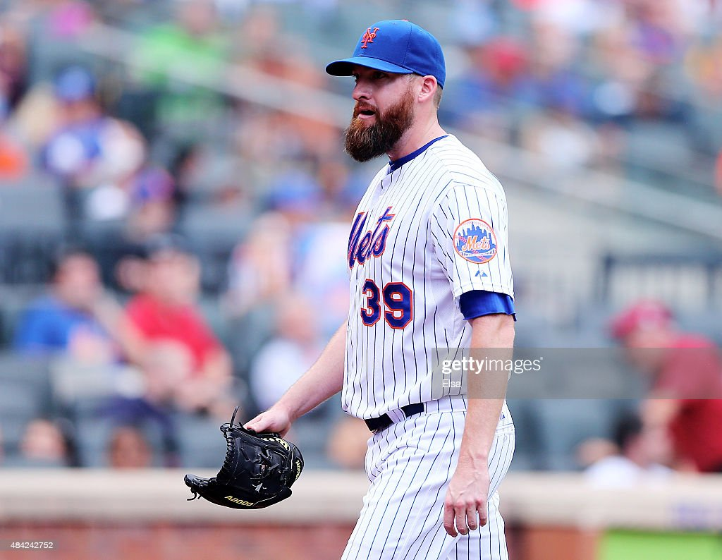 Bobby Parnell #39 of the New York Mets reacts as he is pulled from the game in the seventh inning against the Pittsburgh Pirates on August 16, 2015 at Citi Field in the Flushing neighborhood of the Queens borough of New York City.The Pittsburgh Pirates defeated the New York Mets 8-1.