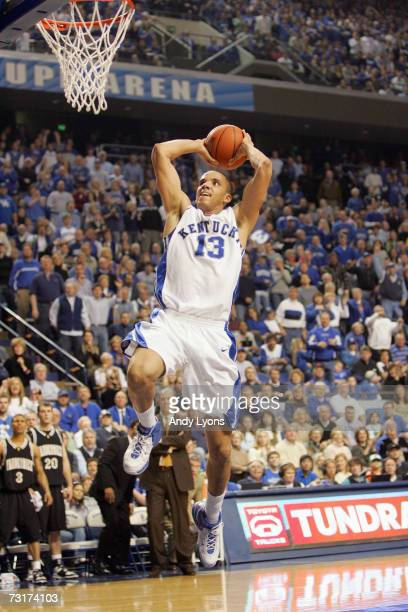 Bobby Perry of the Kentucky Wildcats goes for a slam dunk against the Vanderbilt Commodores on January 20 2007 at Rupp Arena in Lexington Kentucky...