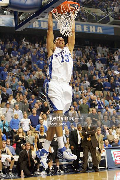 Bobby Perry of the Kentucky Wildcats makes a slam dunk against the Vanderbilt Commodores on January 20 2007 at Rupp Arena in Lexington Kentucky...