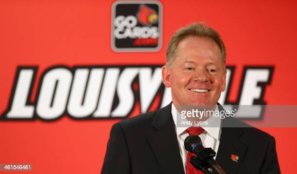 Bobby Petrino talks to the media after being introduced as the head coach of the University of Louisville at Papa John's Cardinal Stadium on January...