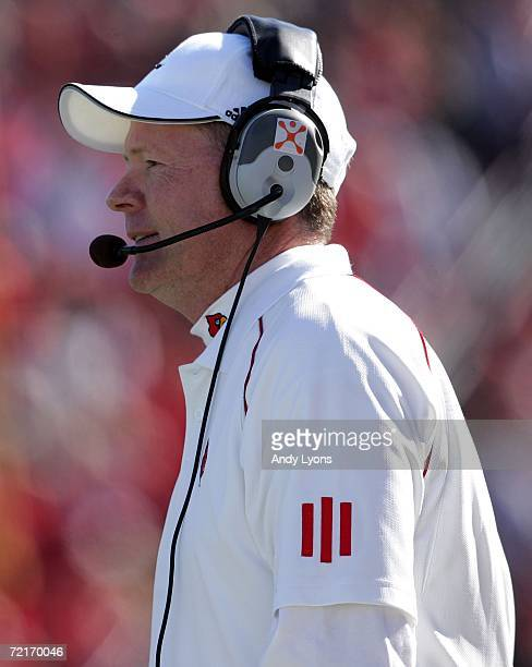 Bobby Petrino the Head Coach of the Louisville Cardinals is pictured during the game against the Cincinnati Bearcats on October 14 2006 at Papa...