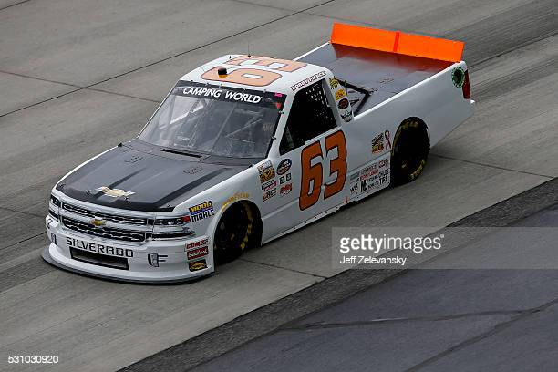 Bobby Pierce driver of the Chevrolet practices for the NASCAR Camping World Truck Series at Dover International Speedway on May 12 2016 in Dover...