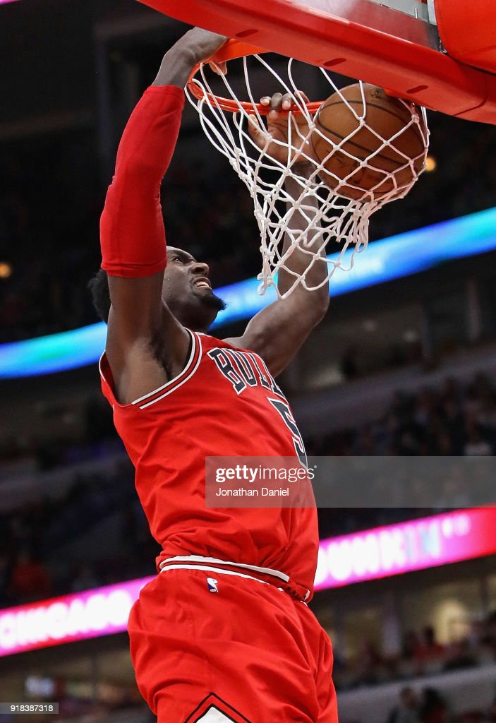 Bobby Portis #5 of the Chicago Bulls dunks against the Toronto Raptors at the United Center on February 14, 2018 in Chicago, Illinois. The Raptors defeated the Bulls 122-98.