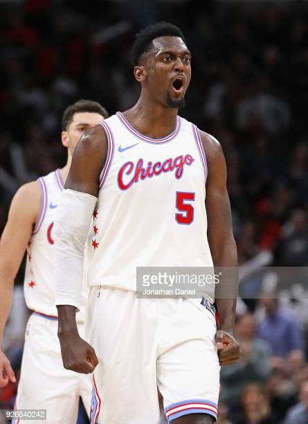 Bobby Portis of the Chicago Bulls reacts after htting a 4th quarter shot against the Dallas Mavericks at the United Center on March 2 2018 in Chicago...