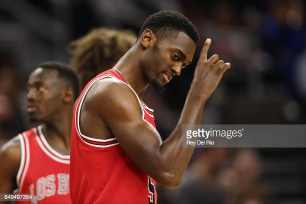 Bobby Portis of the Chicago Bulls reacts during the game against the Detroit Pistons at the Palace of Auburn Hills on March 6 2017 in Auburn Hills...