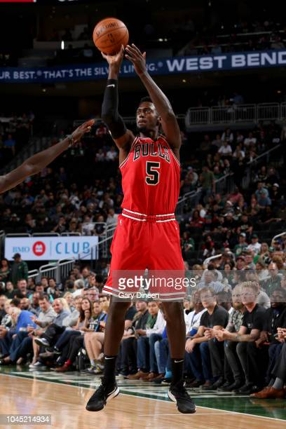 Bobby Portis of the Chicago Bulls shoots the ball against the Milwaukee Bucks during a preseason game on October 3 2018 at Fiserv Forum in Milwaukee...