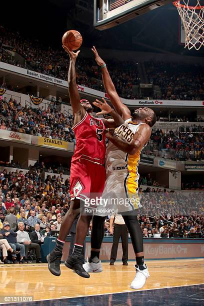 Bobby Portis of the Chicago Bulls shoots the ball against the Indiana Pacers on November 5 2016 at Bankers Life Fieldhouse in Indianapolis Indiana...