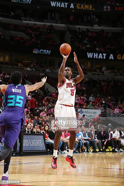Bobby Portis of the Chicago Bulls shoots the ball against the Charlotte Hornets on October 17 2016 at the United Center in Chicago Illinois NOTE TO...