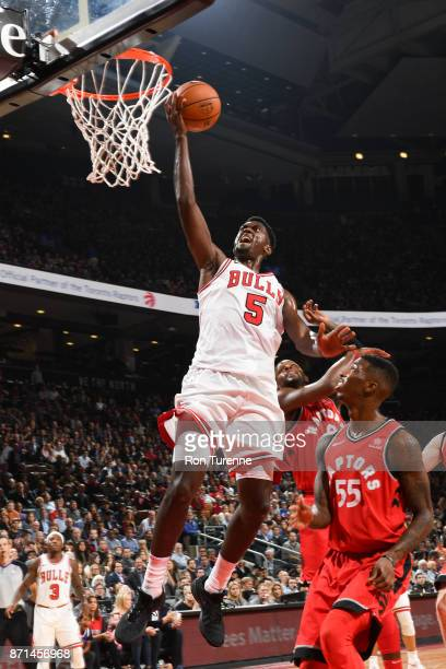 Bobby Portis of the Chicago Bulls shoots the ball against the Toronto Raptors on November 7 2017 at the Air Canada Centre in Toronto Ontario Canada...