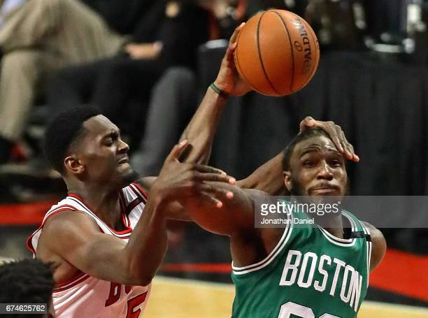 Bobby Portis of the Chicago Bullsfouls Jae Crowder of the Boston Celtics during Game Six of the Eastern Conference Quarterfinals during the 2017 NBA...
