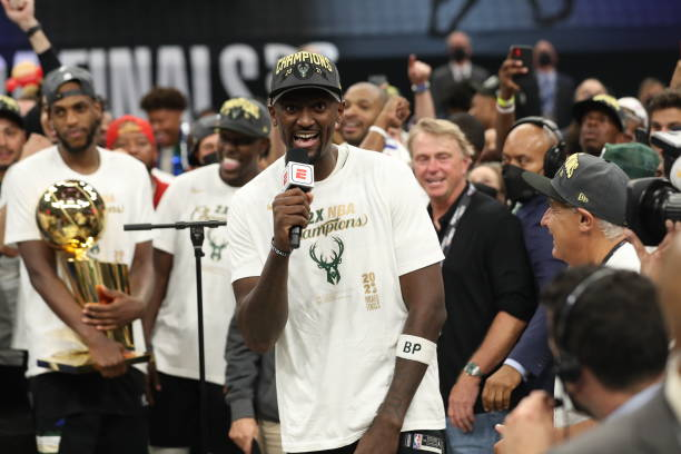 Bobby Portis of the Milwaukee Bucks interviews after winning the 2021 NBA Finals on July 20, 2021 at Fiserv Forum in Milwaukee, Wisconsin. NOTE TO...