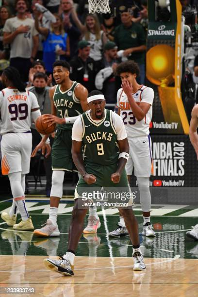 Bobby Portis of the Milwaukee Bucks reacts during Game Three of the 2021 NBA Finals on July 11, 2021 at Fiserv Forum in Milwaukee, Wisconsin. NOTE TO...