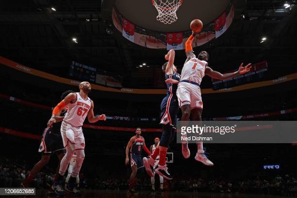 Bobby Portis of the New York Knicks shoots the ball against the Washington Wizards on March 10 2020 at Capital One Arena in Washington DC NOTE TO...
