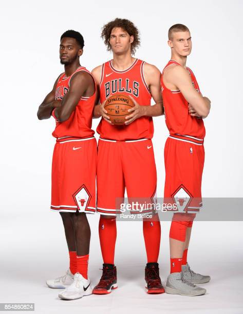Bobby Portis Robin Lopez and Lauri Markkanen of the Chicago Bulls poses for a portrait during the 201718 NBA Media Day on September 25 2017 at the...
