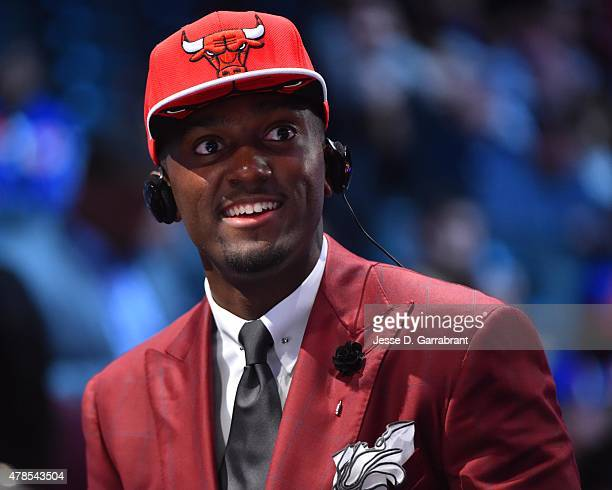 Bobby Portis the 22nd pick overall in the 2015 NBA Draft by the Chicago Bulls speaks to the media during the 2015 NBA Draft at the Barclays Center on...
