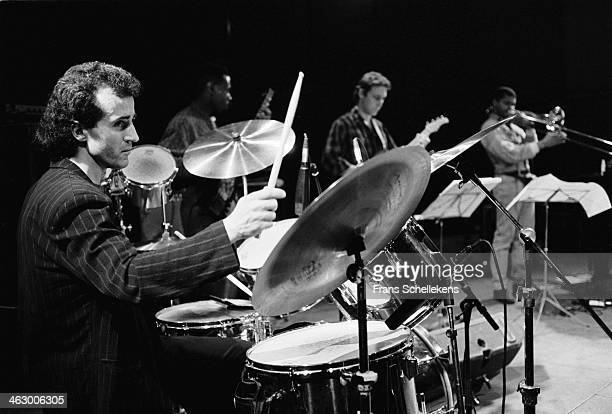 Bobby Previte, drums, performs at the BIM Huis on 5th April 1990 in Amsterdam, the Netherlands.