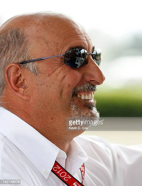 Bobby Rahal coowner of Rahal Letterman Lanigan Racing converses in the pits during practice for the IndyCar Series Honda Indy Grand Prix of Alabama...