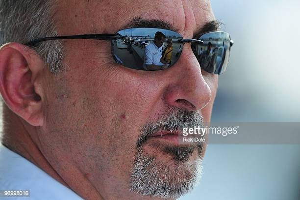 Bobby Rahal owner of the BMW Rahal Letterman BMW M3 watches during the American Le Mans Series Winter Test at Sebring International Raceway February...